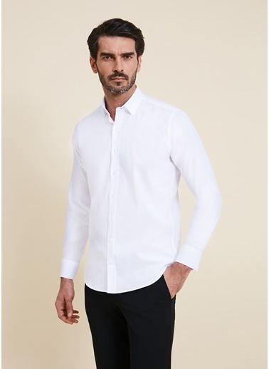 Bisse GMET2012 Regular Fit Düz Spor Gömlek Beyaz